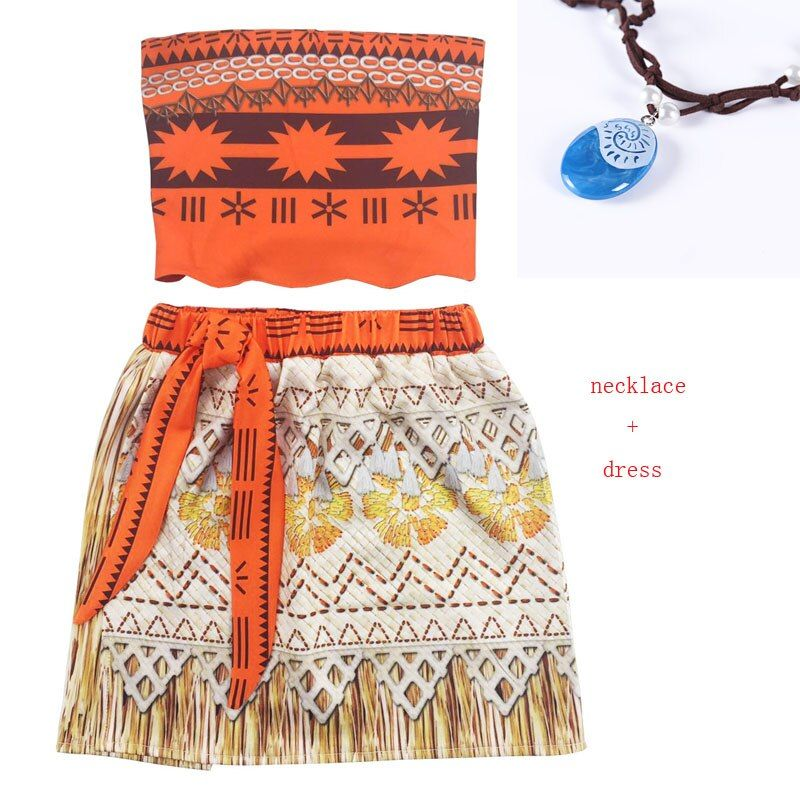 2017 Princess Moana Cosplay Costume for Children Vaiana dress Costume with Necklace for Halloween Costumes for Kids Girls Gifts