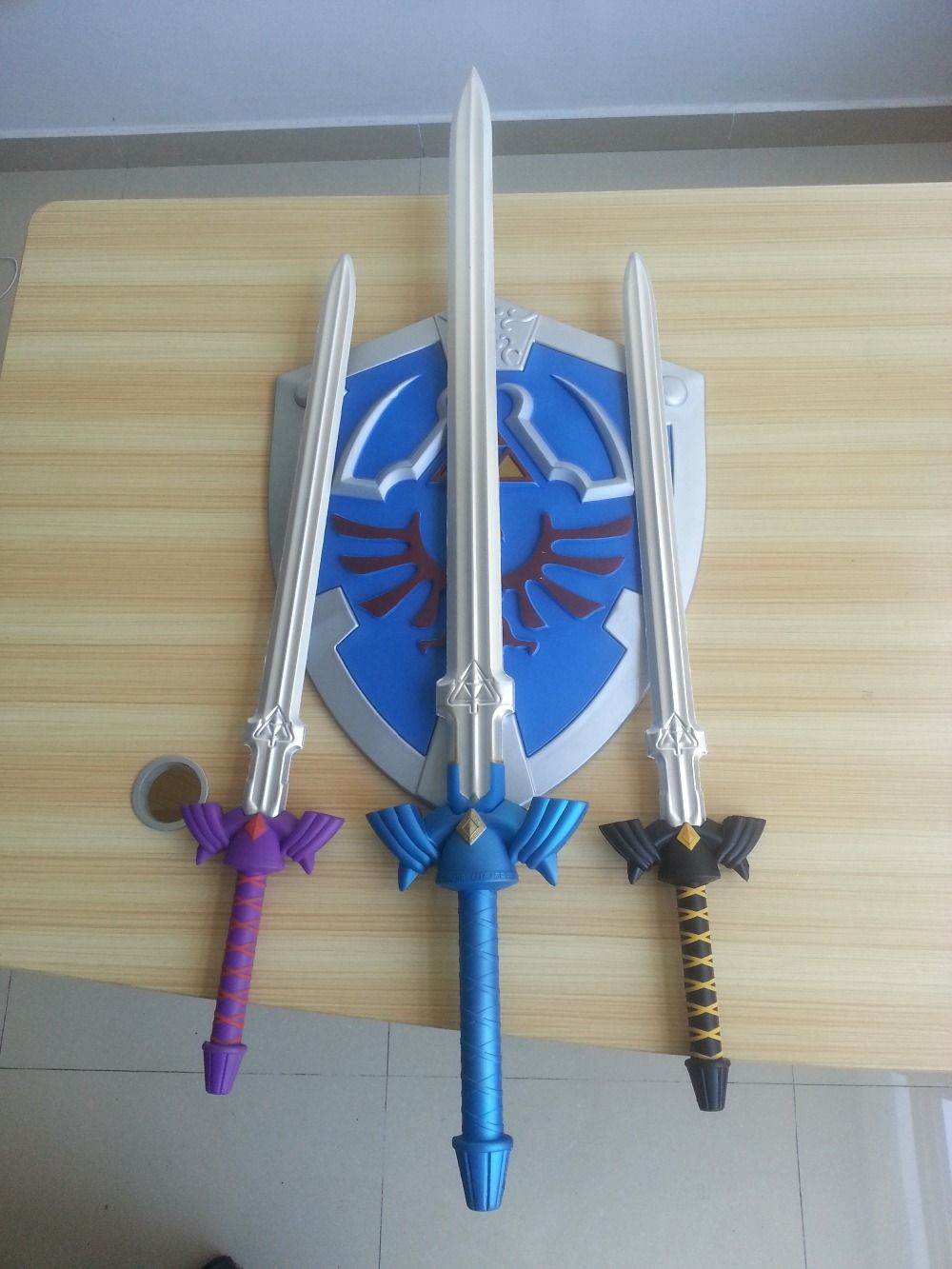 EVA foam The Legend of Zelda Blue Replica Master Sword And Shield Prop Display New cosplay toys and Birthday Gifts