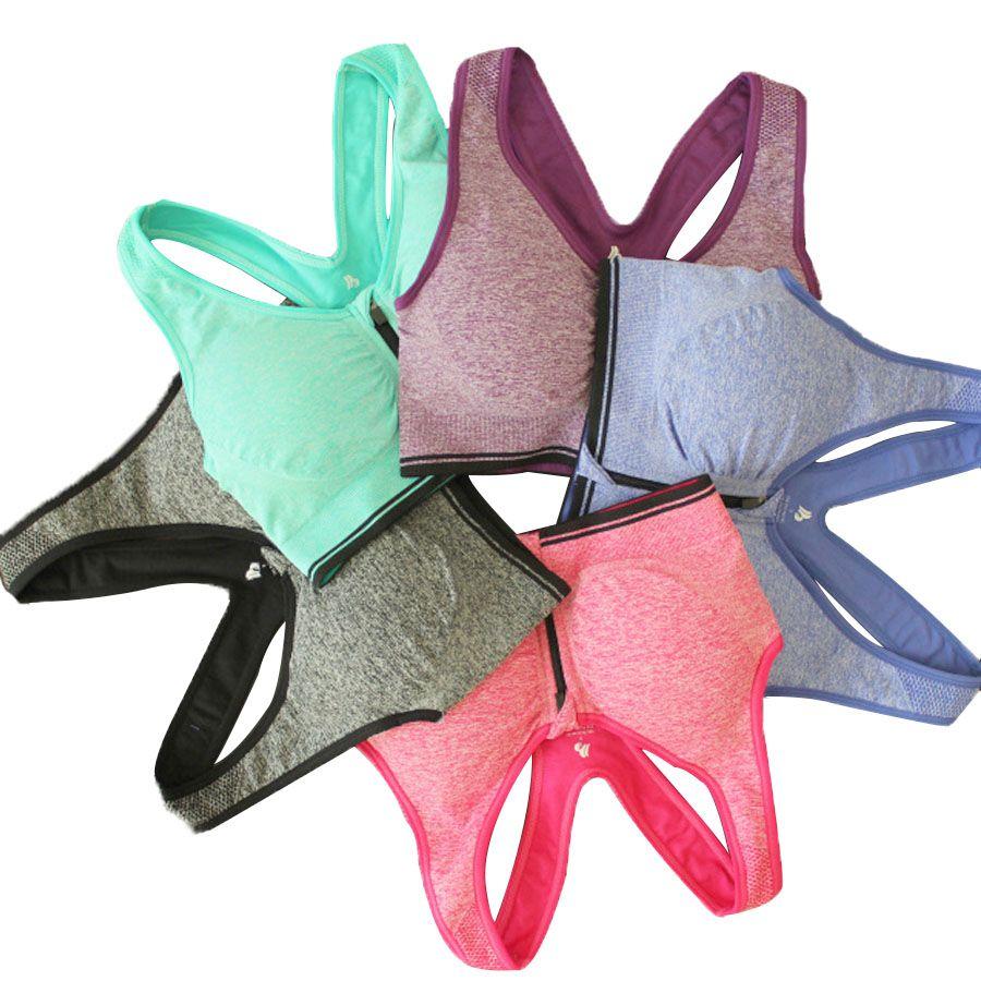 B. BANG Femmes Soutiens-gorge de Zipper Avant Push Up Soutien-Gorge Shakeproof Intime Crop Top Sans Soudure Sous-Vêtements Livraison Gratuite