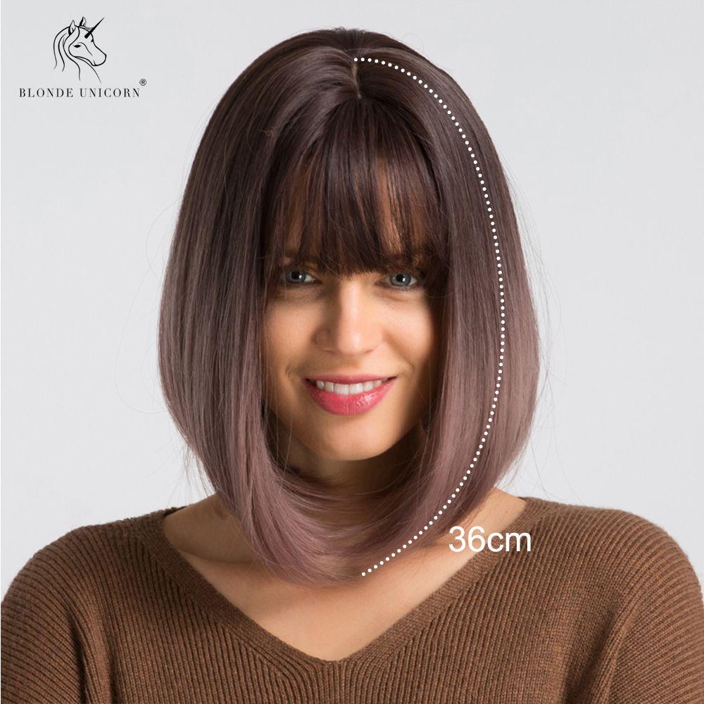 BLONDE licorne synthétique court Bob perruque Ombre violet clair 14 pouces cheveux raides Cosplay perruque avec frange Lolita perruques pour femmes