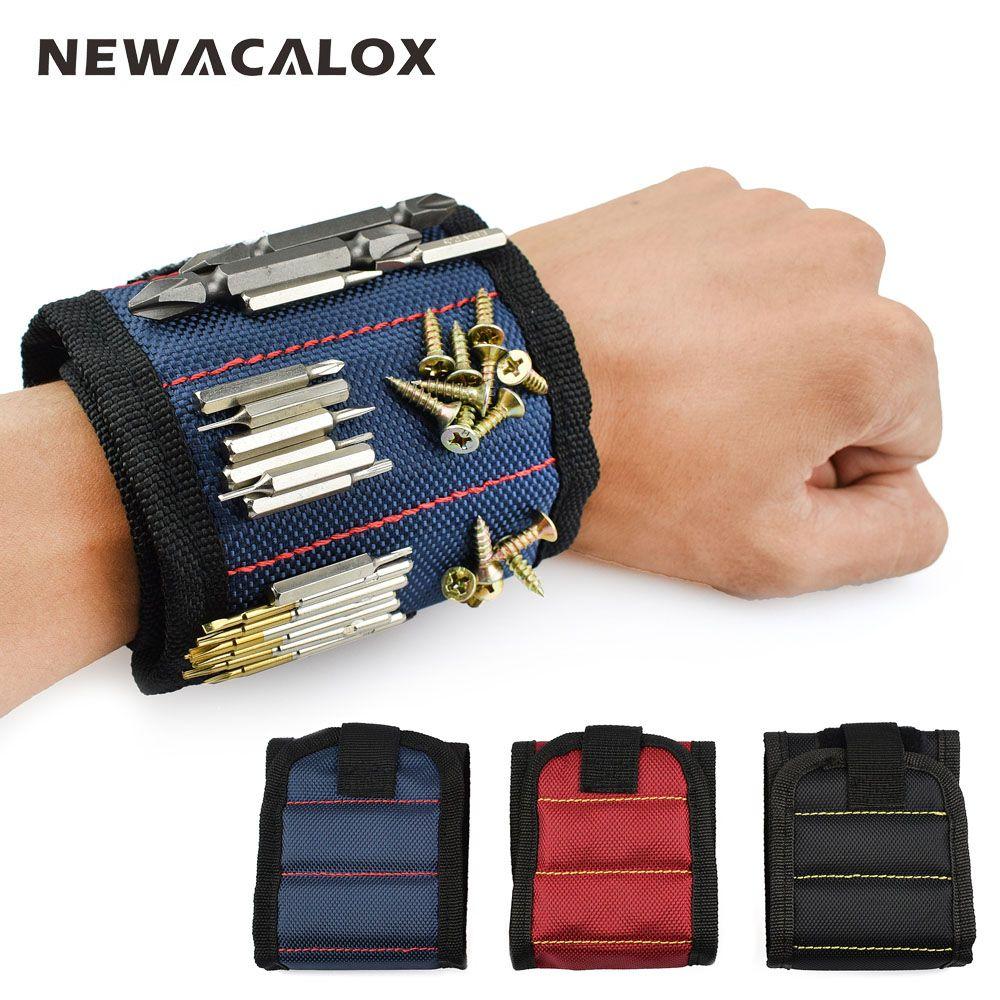 NEWACALOX Polyester Magnétique Bracelet Portable Sac À Outils Électricien Poignet Outil Ceinture Vis Ongles Forage Bits Titulaire Outils De Réparation