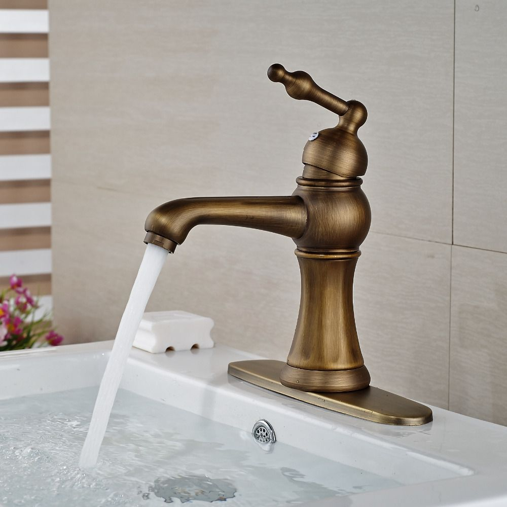 Wholesale And Retail Antique Brass Bathroom Basin Faucet Single Handle Hole Deck Mounted Sink Mixer Tap W/ Hole Cover Plate