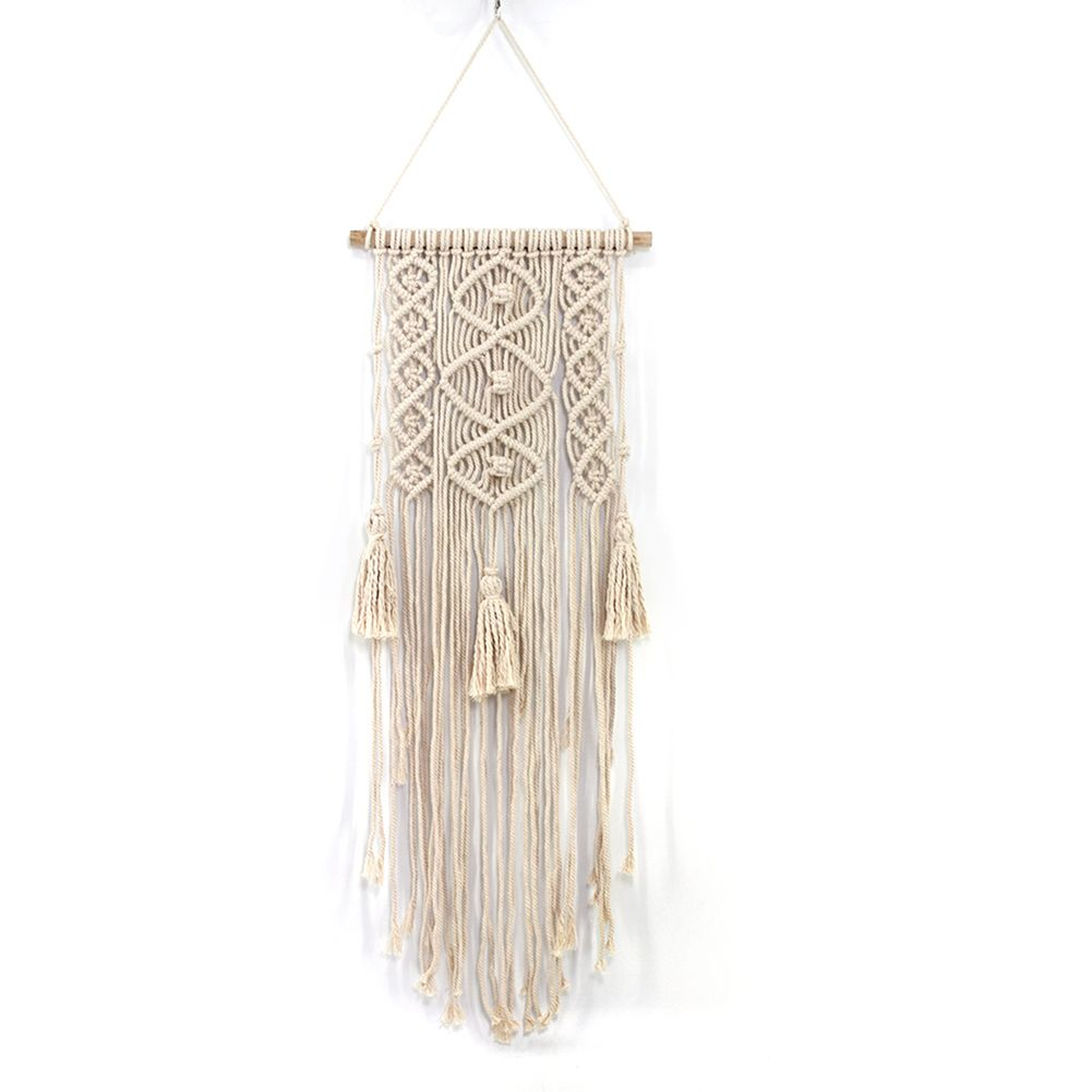Macrame Wall Art Handmade Cotton Wall Hanging Tapestry with Lace Fabrics Bohemian Hanging Decoration Best Gift