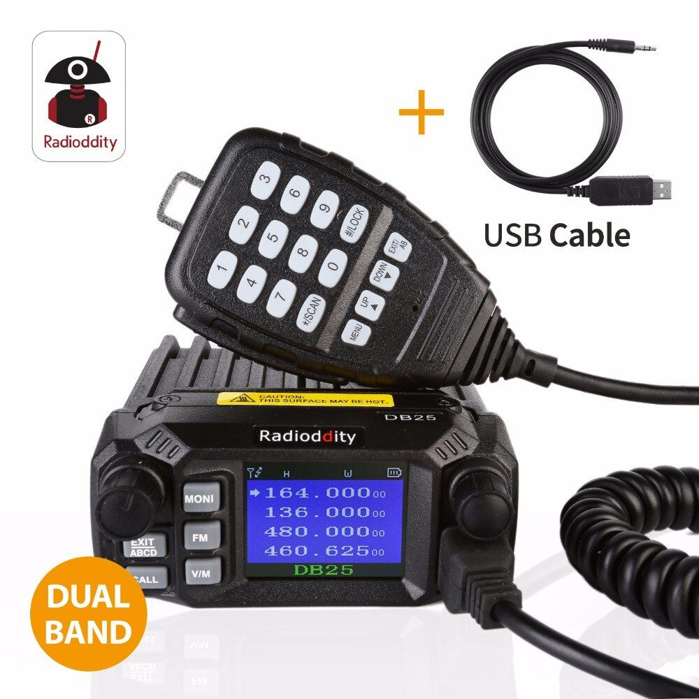 Radioddity DB25 Dual Band Quad-standby Mini Mobile Car Truck Radio VHF UHF 144/440 MHz 25W/10W Car Transceiver rogramming Cable