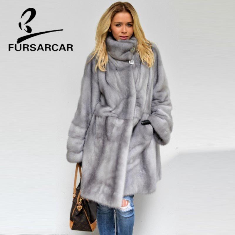 FURSARCAR 2018 Neue Stil Echt Nerz Pelzmantel Frauen 100% Natürliche Nerz Mäntel Mit Pelz Kragen Winter Weiblichen Nerz mantel
