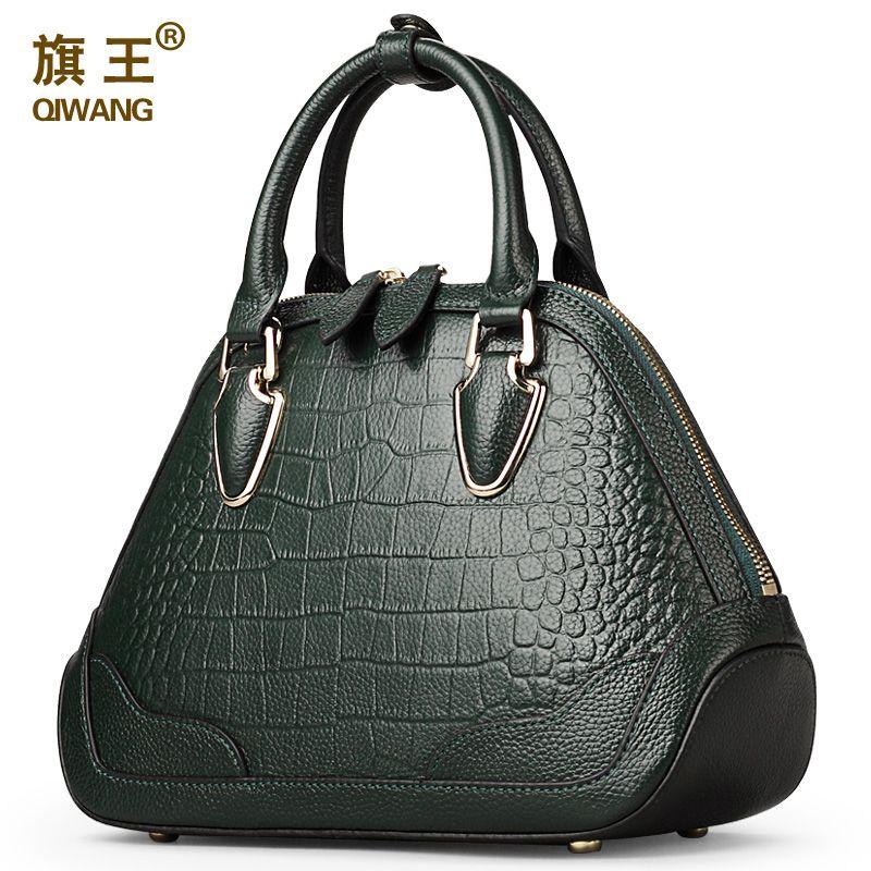 Qiwang Green Superior Quality Solid Handbag Women Crocodile Handbag Genuine Leather Brand Designer Classic Shell Bag for Woman