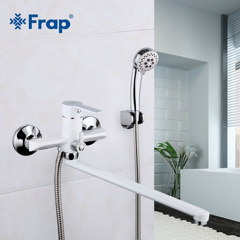 Frap 1 Set 35cm White Outlet Pipe Bath Shower Faucet Brass Body Surface Spray Painting Shower Head Bathroom Tap F2241