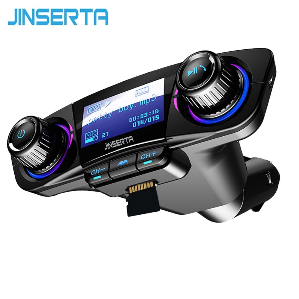 JINSERTA Power ON OFF Bluetooth 4.0 FM Transmitter Modulator Handsfree Car Kit TF USB Music AUX Audio MP3 Player