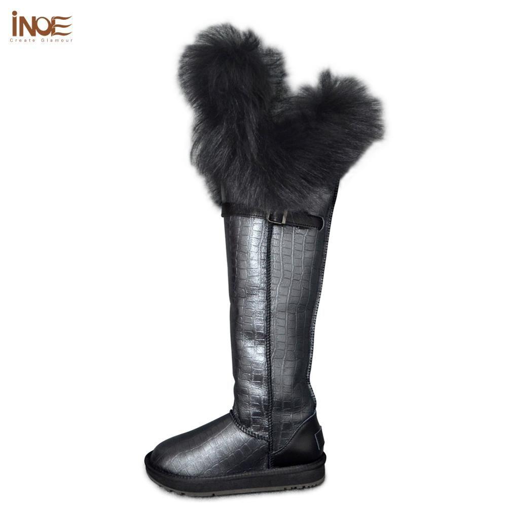 INOE Echtem Leder schafe pelz gefüttert fuchs pelz über die knie lange Lammfell frauen winter schnee stiefel hohe winter schuhe wasserdicht