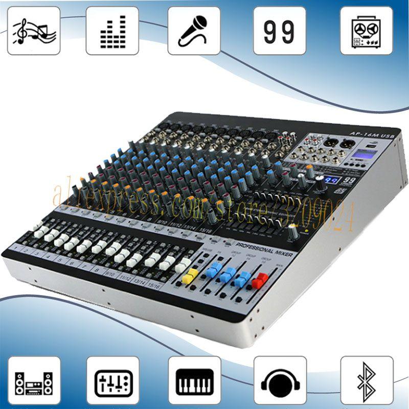16 kanäle Bluetooth Mixer 99 Arten von Digitale Effekte 6 Gruppe Ausgang Dual 7-band Equalizer Bluetooth Leistung Mischer