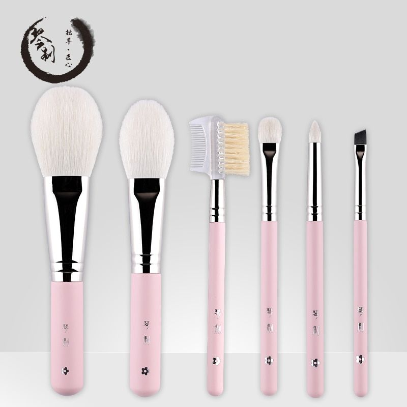 Handmade Makeup Brushes Set 6pcs Soft Goat Hair Make up Face Powder Blush Eye Shadow Brush Pink Handle Cosmetic Tools