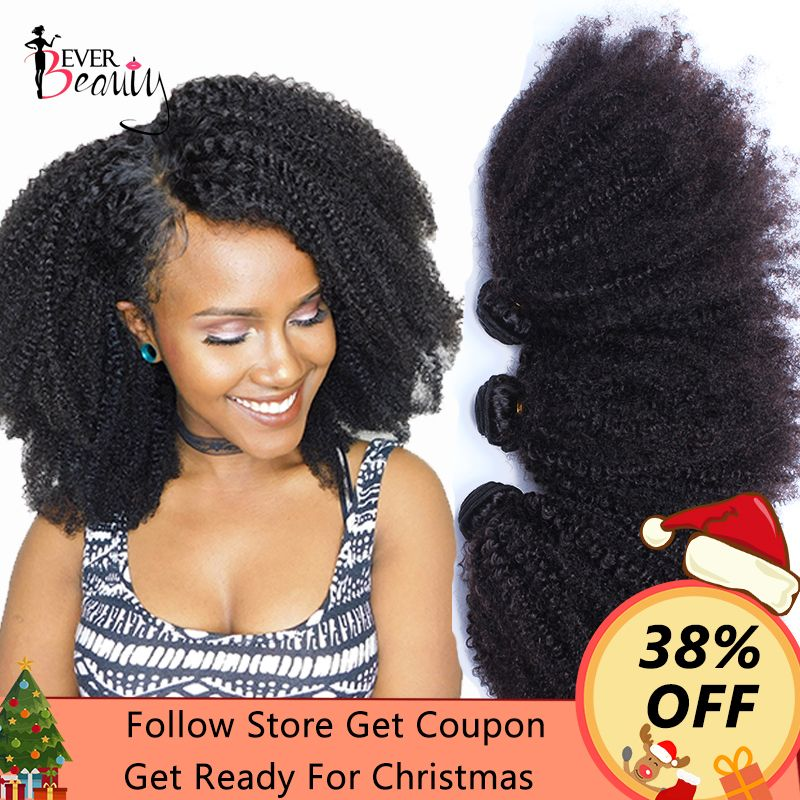 Mongolian Afro Kinky Curly Weave <font><b>Human</b></font> Hair Extensions 4B 4C Virgin Hair 1 Or 3 Bundles Natural Black 10-24inch Ever Beauty