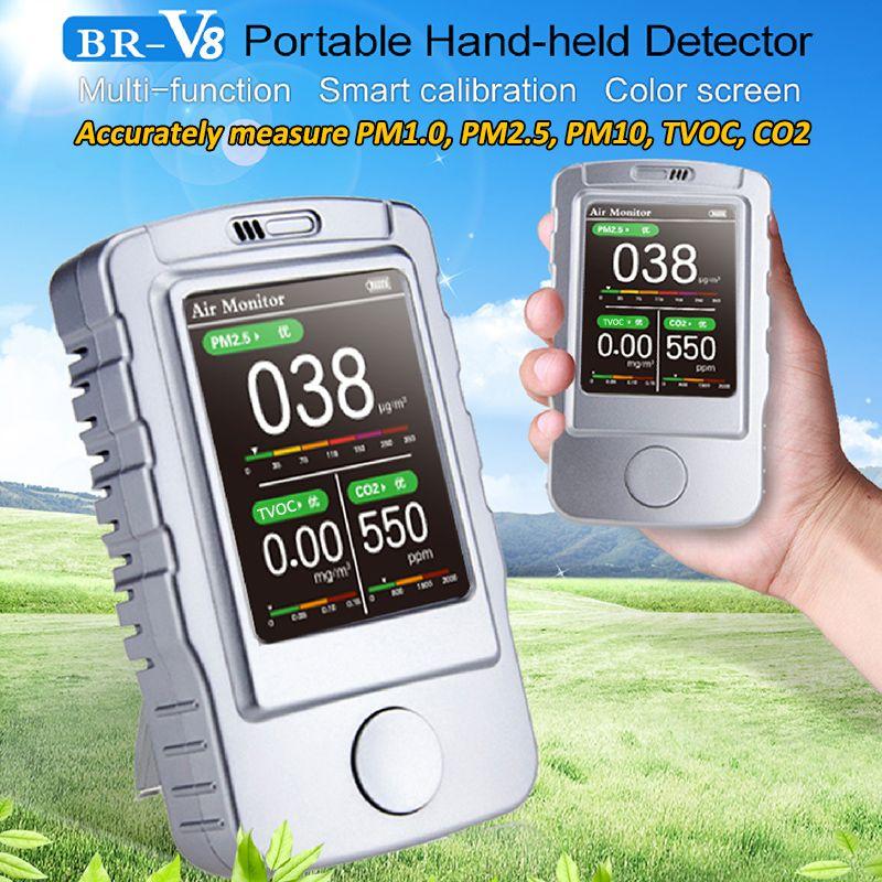 Air Qualität Monitor Kalibrierung Tragbaren Detektor Monitor 5 In 1 CO2 PM2.5 Multi-funktion Laser smart Gas Detektor