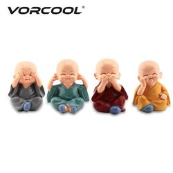 VORCOOL 4Pcs Little Cute KongFu Monk Car Interior Decoration Ornament For Car Home Decor Gift Dolls Car Styling Accessories
