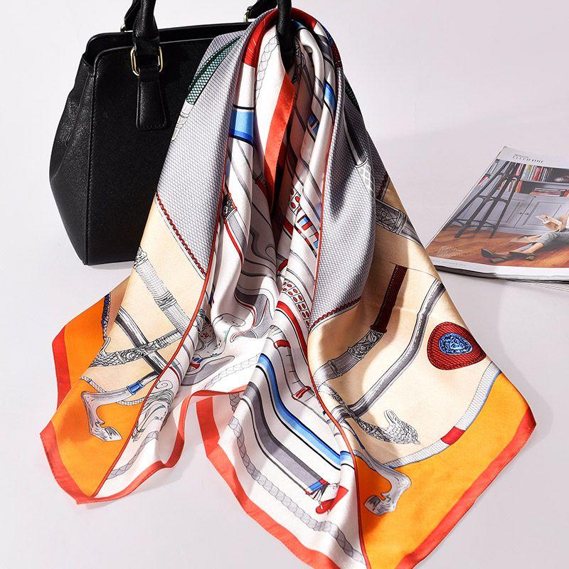 Frauen 100% Seide Platz Schal 90*90 cm Bandana Luxus Schals und Wraps für Damen Multifunktions Vintage Seide Schal kopftücher