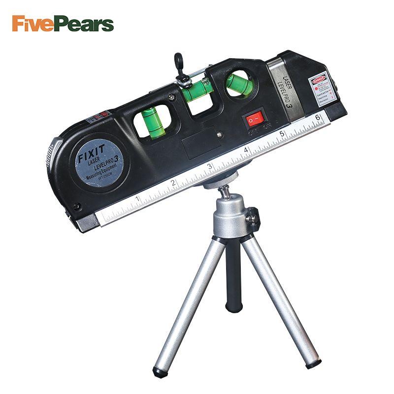 Niveau Laser Verticale Mesure 8FT Aligneur Standard et Règle Métrique Polyvalent Mesurer le Niveau Laser Noir avec cadeau