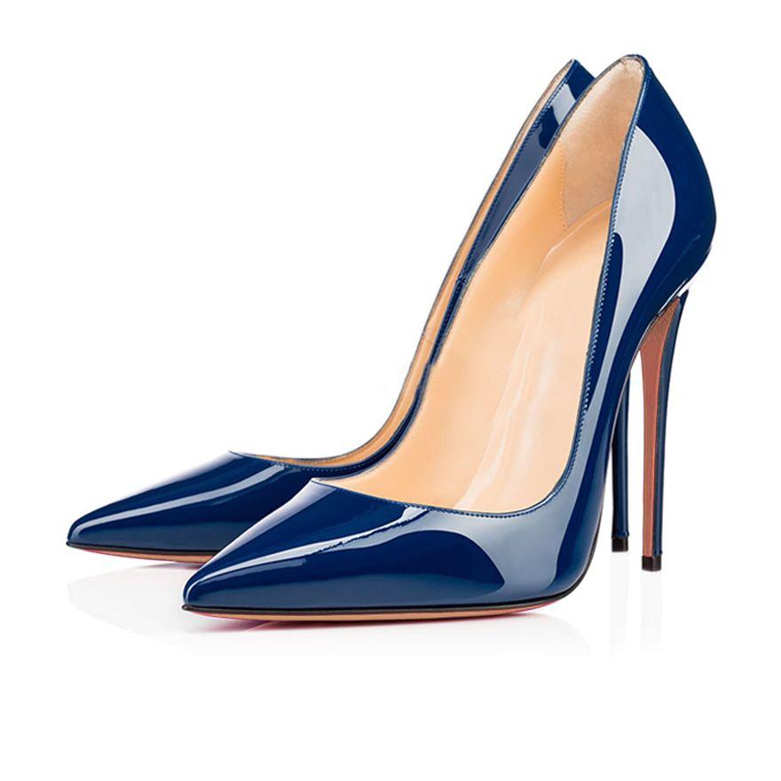 2016 color Sólido de La Manera zapatos de boda punta estrecha slip-on zapatos de las mujeres bombas de tacón alto de Personalizar zapatos de noche de las señoras grande Size15