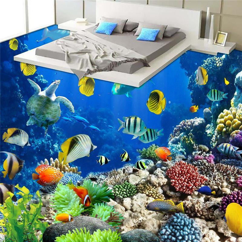 Beibehang подводный мир тропических Пособия по биологии для ванной пол в ванной комнате 3D водонепроницаемый самоклеящиеся стены рулона бумаги ...