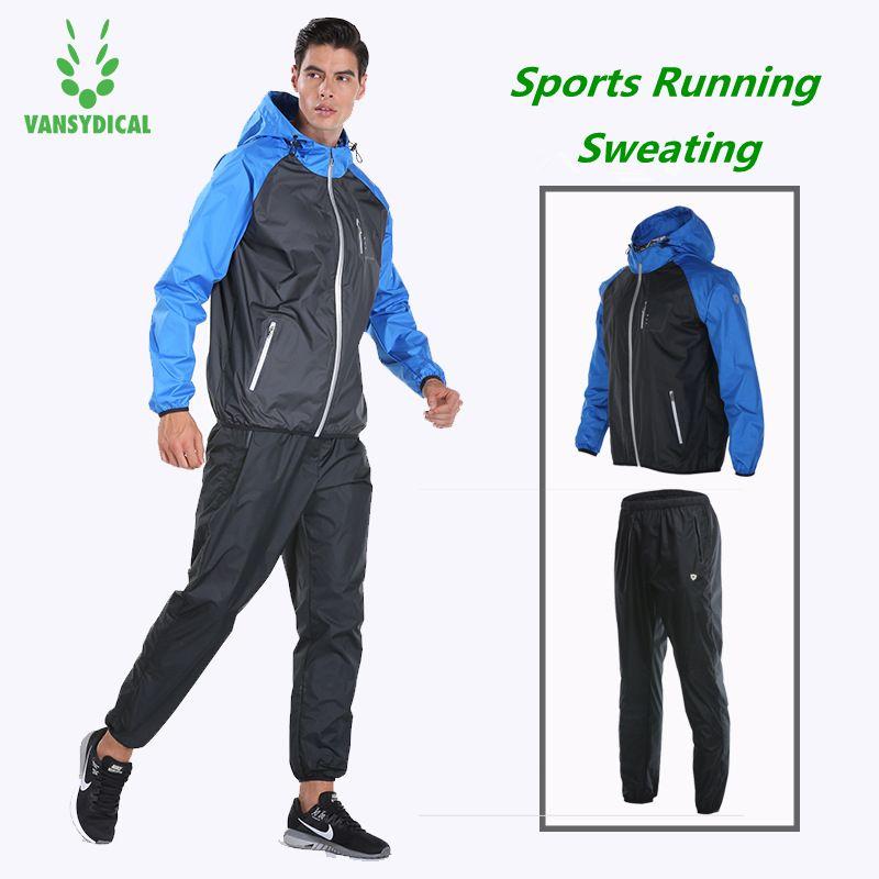 Vansydical Sport Anzüge herren Gym Sportswear Fitness Lauf Jacke Hosen Set Verlieren Gewicht Schnell Schwitzen Training Jogging Anzüge