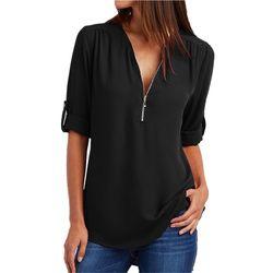 Las mujeres más el tamaño grande 4XL 5XL sueltan blusa mujer 2018 verano negro sólido medio manga elegante tops camisas blusas