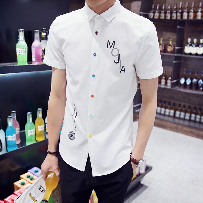 Mens Shirts Summer Shirts Mens Tropical Shirts Print Beach Shirt Men's Slim-Fit Short- Sleeve