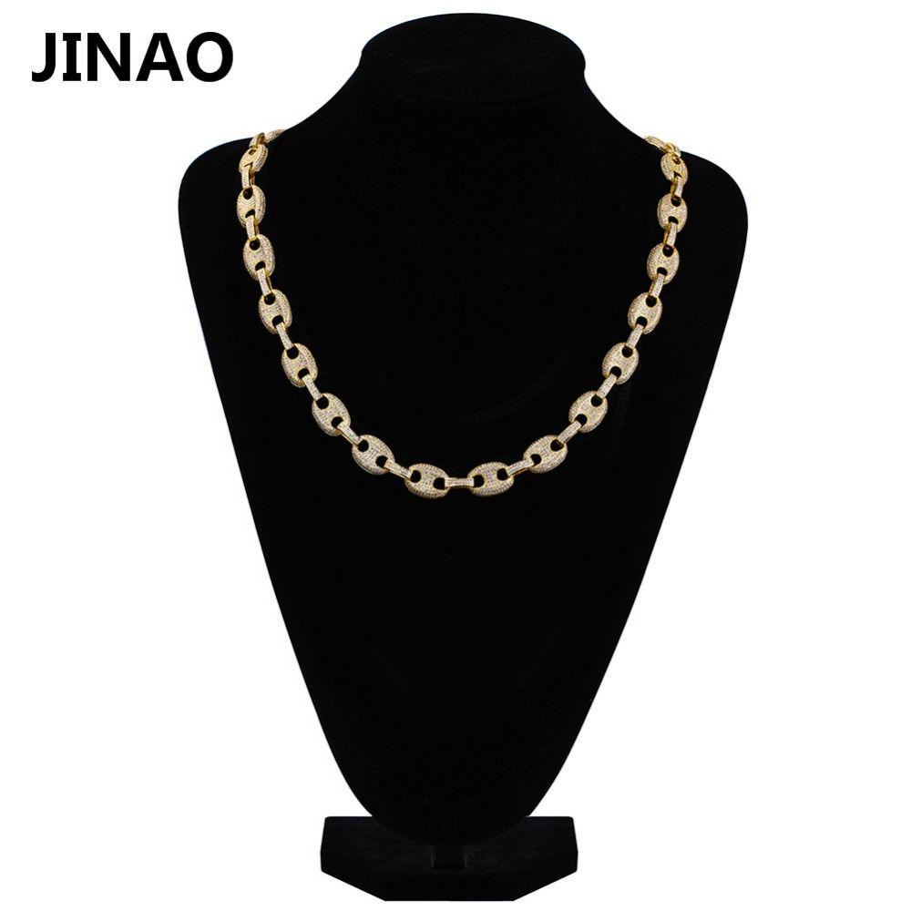 JINAO 12mm Iced Out Kubikzircon Hip Hop Link Ketten halskette Kupfer Material Gold Farbe Halskette für Männer Frauen 18 zoll 22 zoll