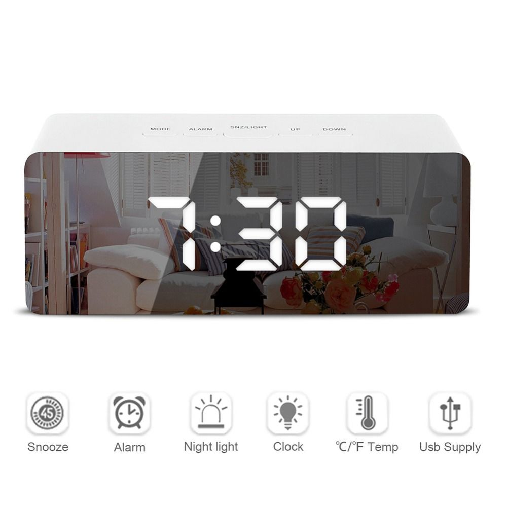 LED Mirror Alar m Clock Digital Snooze Table Clock Wake Up Light Electronic Large Time Temperature Display Home Decoration Clock