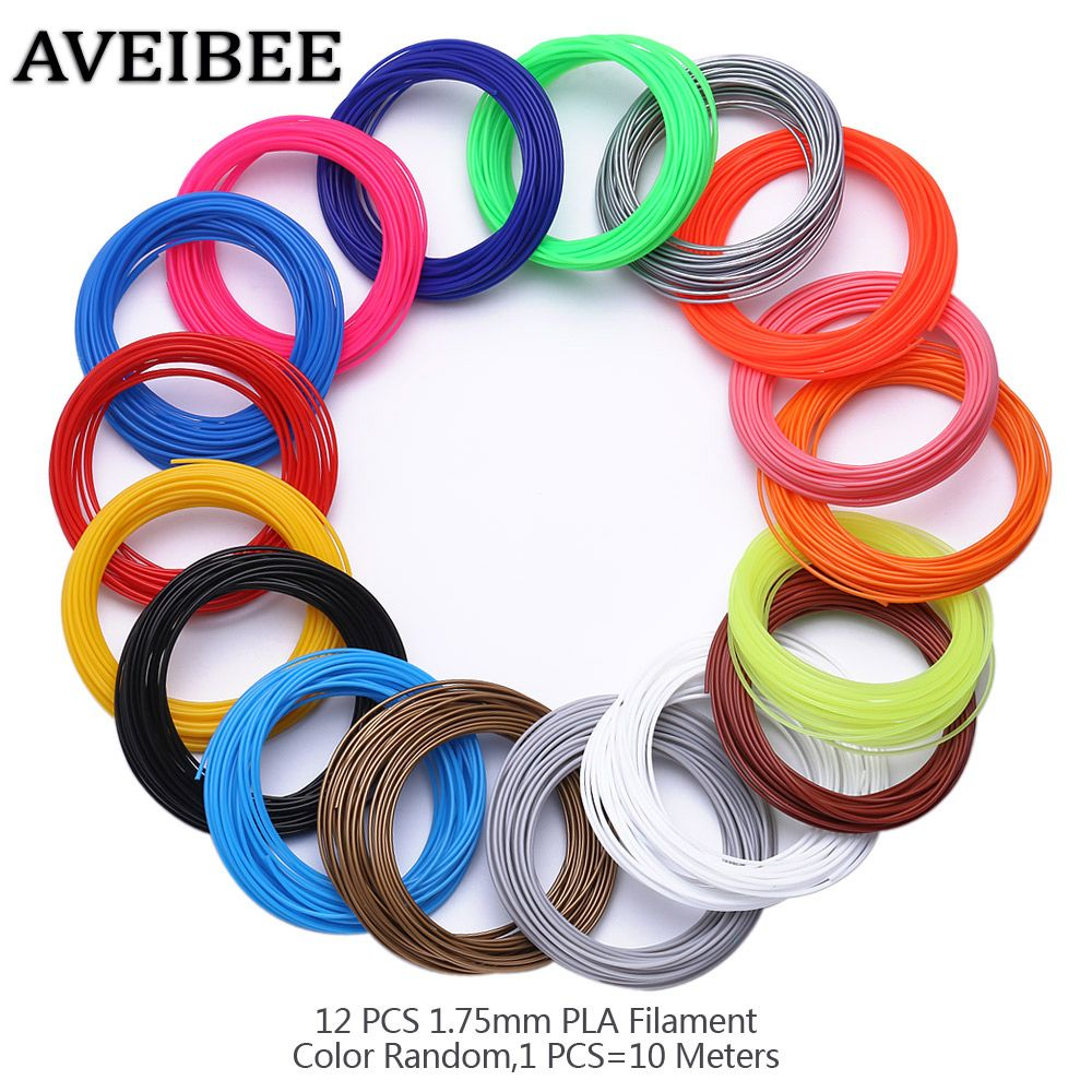 AVEIBEE 3D Printing Pen 120 Meters 12 Colors 1.75MM PLA Filament 3D Drawing Pens Threads Plastic Printer For Gift