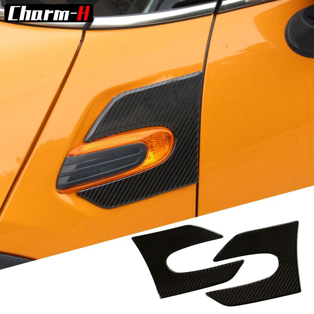 2 pièces véritable Fibre de carbone voiture côté aile Scuttle garde-boue style autocollants gauche et droite pour Mini Cooper F55 F56 accessoires