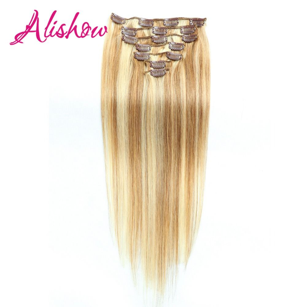 Alishow Clip in Remy Human Hair Extensions 22inch 140g 10pcs Machine Made Remy Hair Straight Double Weft Natural Hair Full Head