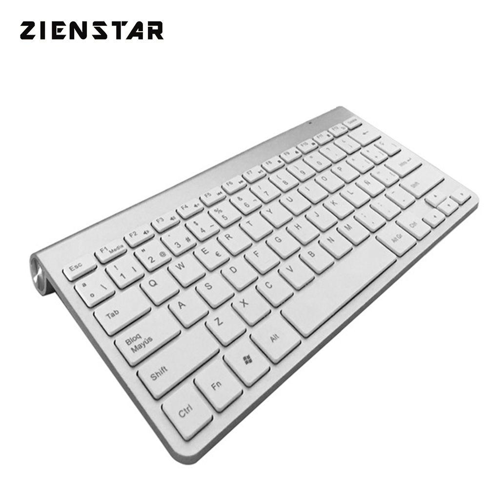 Zienstar Spanish Language Ultra slim 2.4G Wireless Teclado for Macbook/PC computer/Laptop /Smart TV with USB Receiver