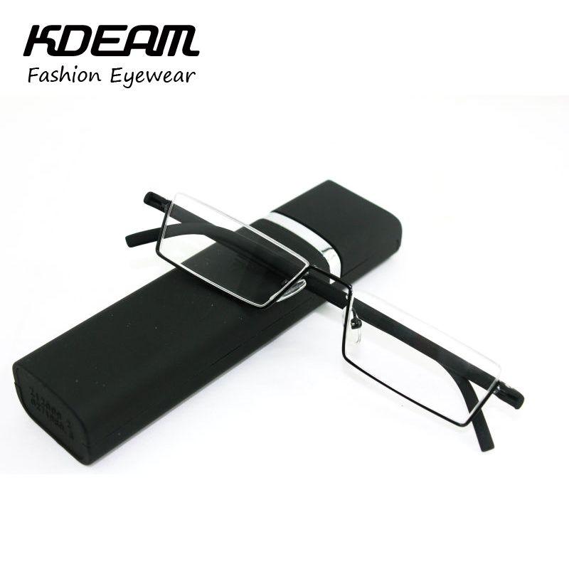 Tr-90 moitié cadre métallique mince Portable noir / rouge Compact lunettes de lecture Anti Fatigue oculaire avec la boîte résistance + 1.0 - + 4.0 Kdeam