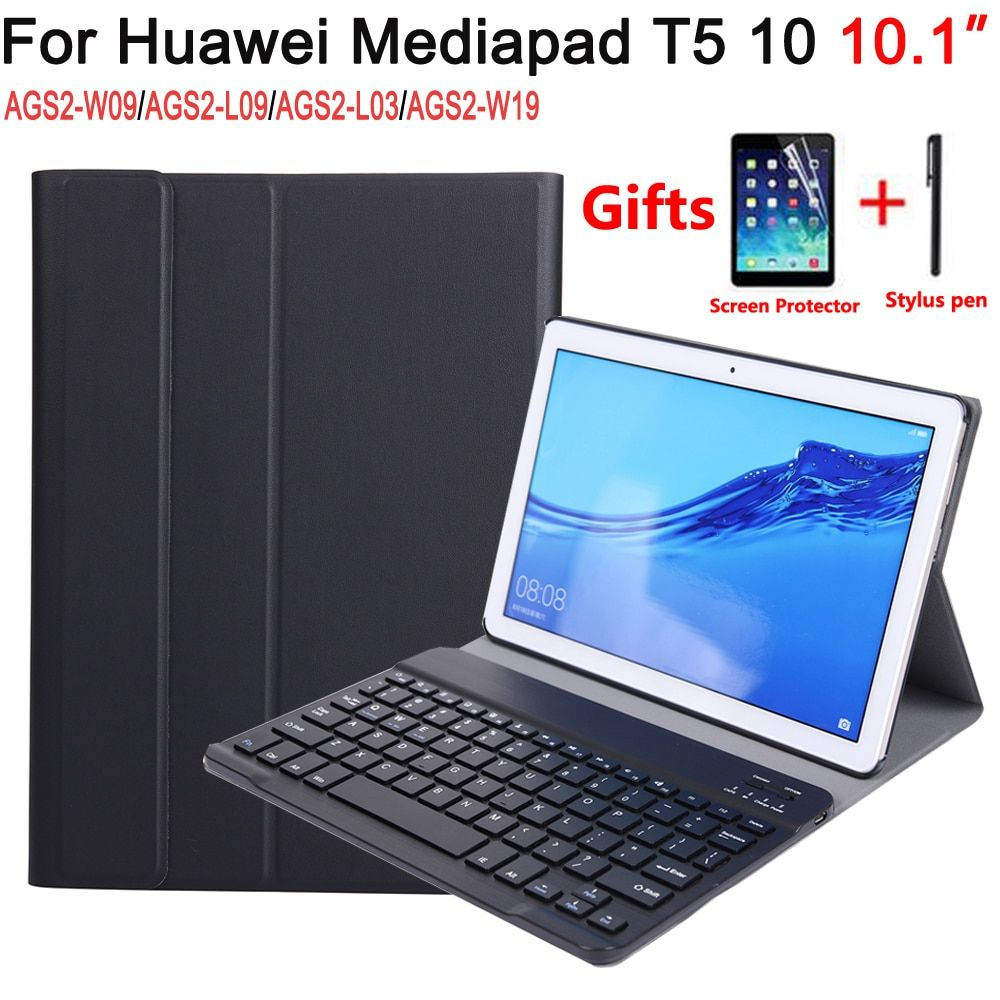 Clavier bluetooth étui pour Huawei Mediapad T5 10 10.1 AGS2-W09/L09/L03/W19 Cas Clavier pour Huawei T5 10 10.1 couverture + Clavier
