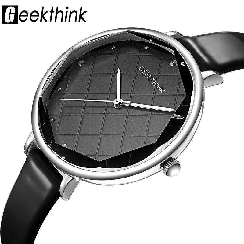 Geekthink модные Повседневные часы Для женщин бриллиантами наручные часы кожаный топ Элитный бренд Женская одежда часы Новинка; для женщин Relogio