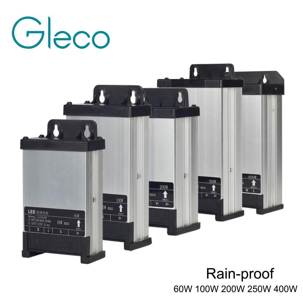 Outdoor Rainproof LED Power Supply DC12V 60W 100W 200W 250W 400W Lighting Transformers For LED strip light 220V Input LED Driver