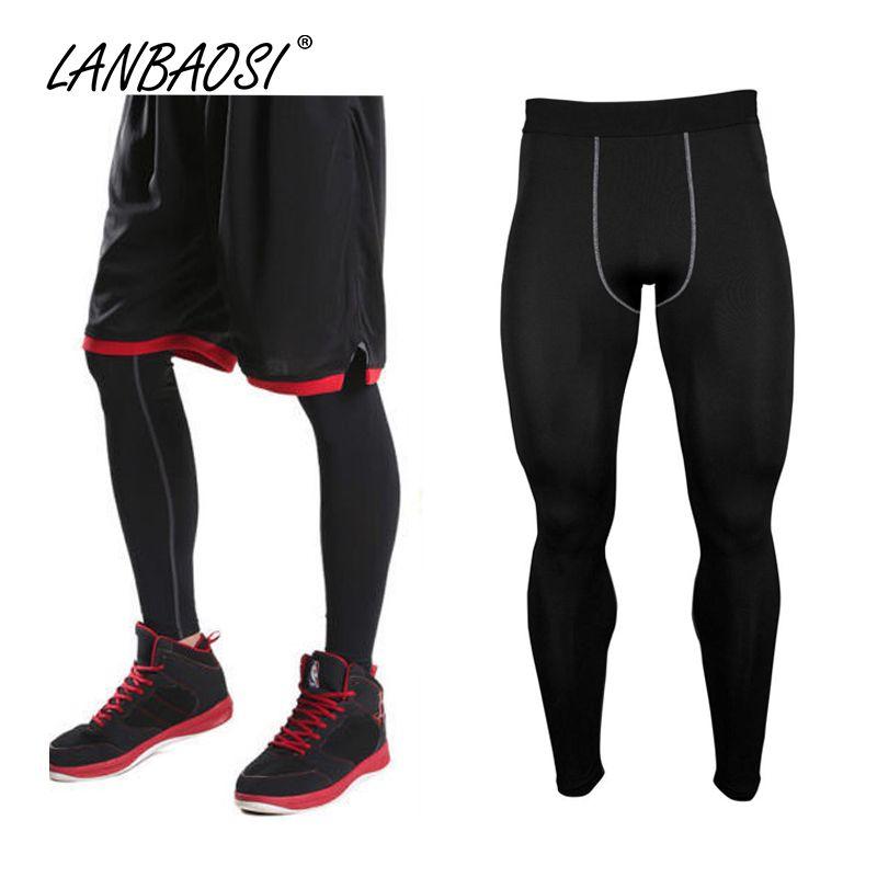 LANBAOSI pantalons de Compression athlétique bas collants pour hommes course Jogging GYM entraînement Fitness basket-ball peau Leggings serrés