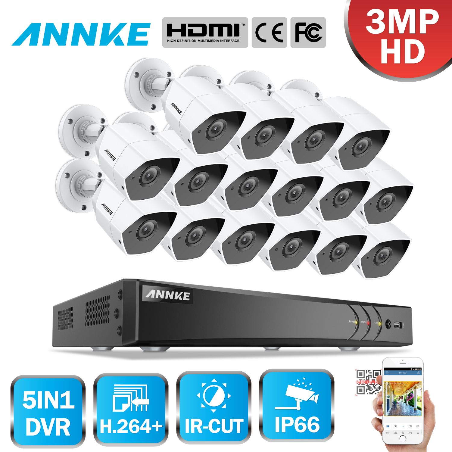 ANNKE Volle HD 16CH 5in1 3MP CCTV System 16 stücke 3MP Sicherheit Kugel Wasserdichte Kamera Smart IR Outdoor 3MP Video überwachung Kit