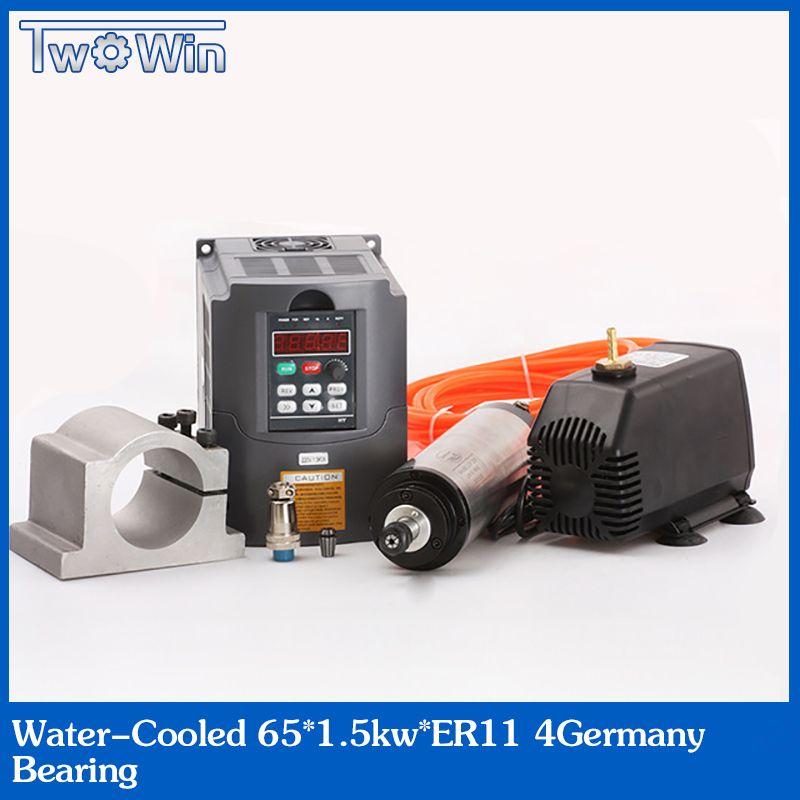 ER11 Spindel Motor 1.5kw Wasser Gekühlte Spindel & 1500 W VFD & 65mm clamp & kühlung Wasser pumpe & 13 stücke er11 Für CNC Fräsen