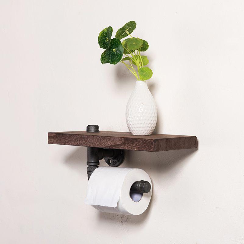 30*15 cm De Tuyaux Industriels En Fer Support de Papier Toilette Mural Étagère de Serviette De Cuisine Rouleau Porte-mouchoirs En Papier avec étagère en bois J011