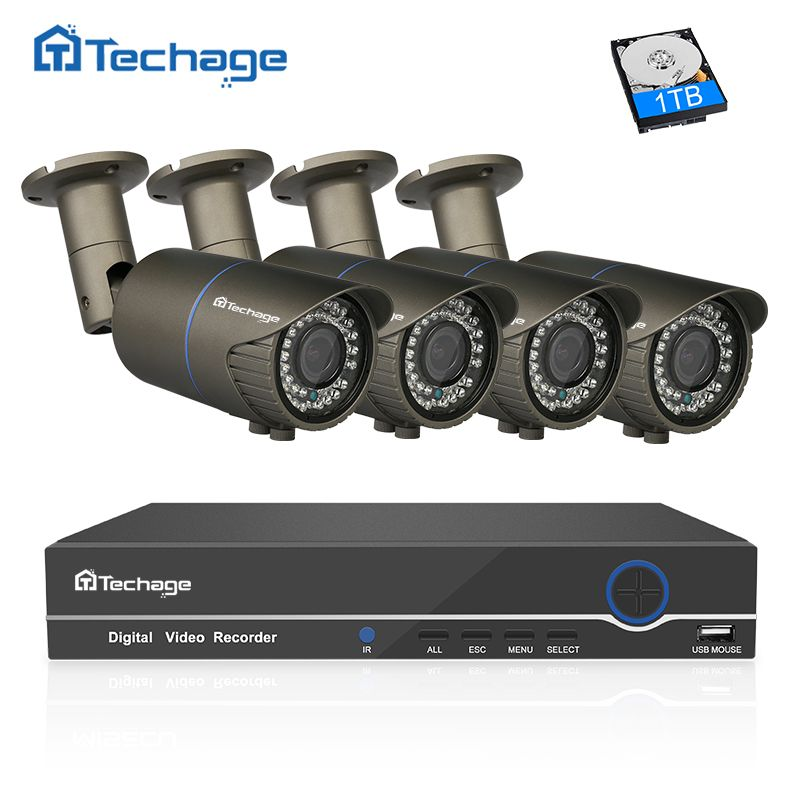 Techage 8CH 1080P NVR POE CCTV System 4PCS 2.8mm~12mm Varifocal Zoom Lens PoE IP Camera P2P Onvif Security Surveillance DIY Kit