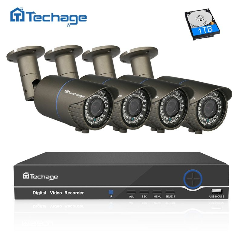 Techage 8CH 1080P POE NVR Kit 4PCS 2.8mm~12mm Varifocal Zoom Lens 2MP PoE IP Camera P2P Video Security Surveillance CCTV System