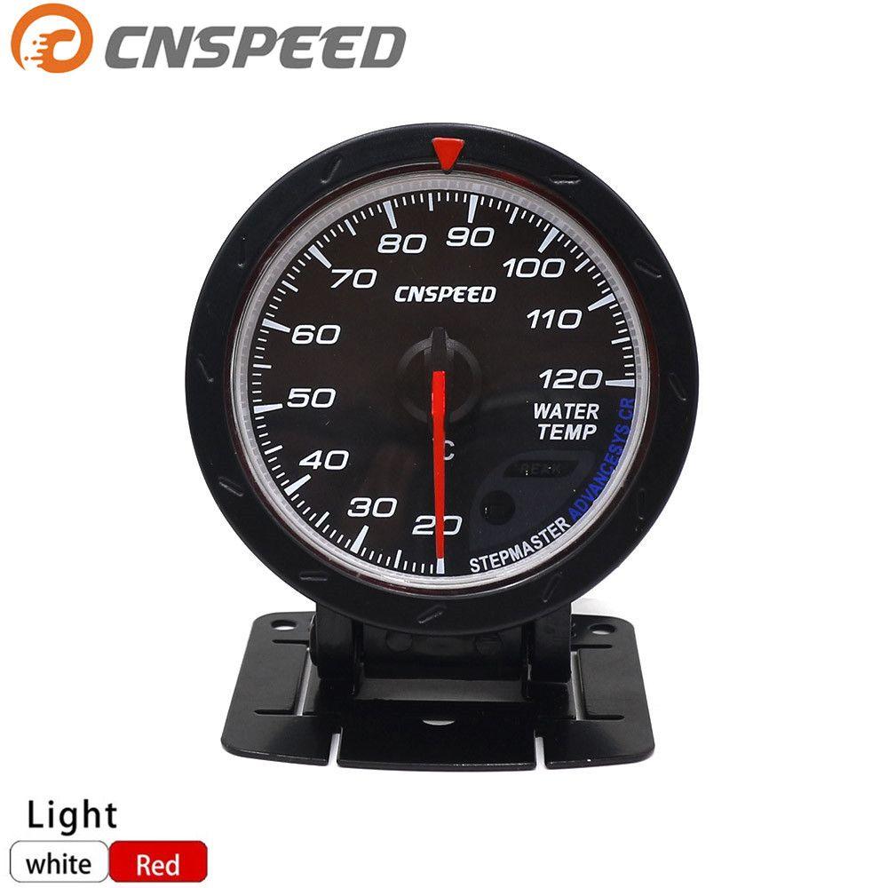 Free shipping CNSPEED 60MM Car Water Temperature Gauge 20--120 C Water Temp Meter Red & White Lighting Auto Gauge YC101164