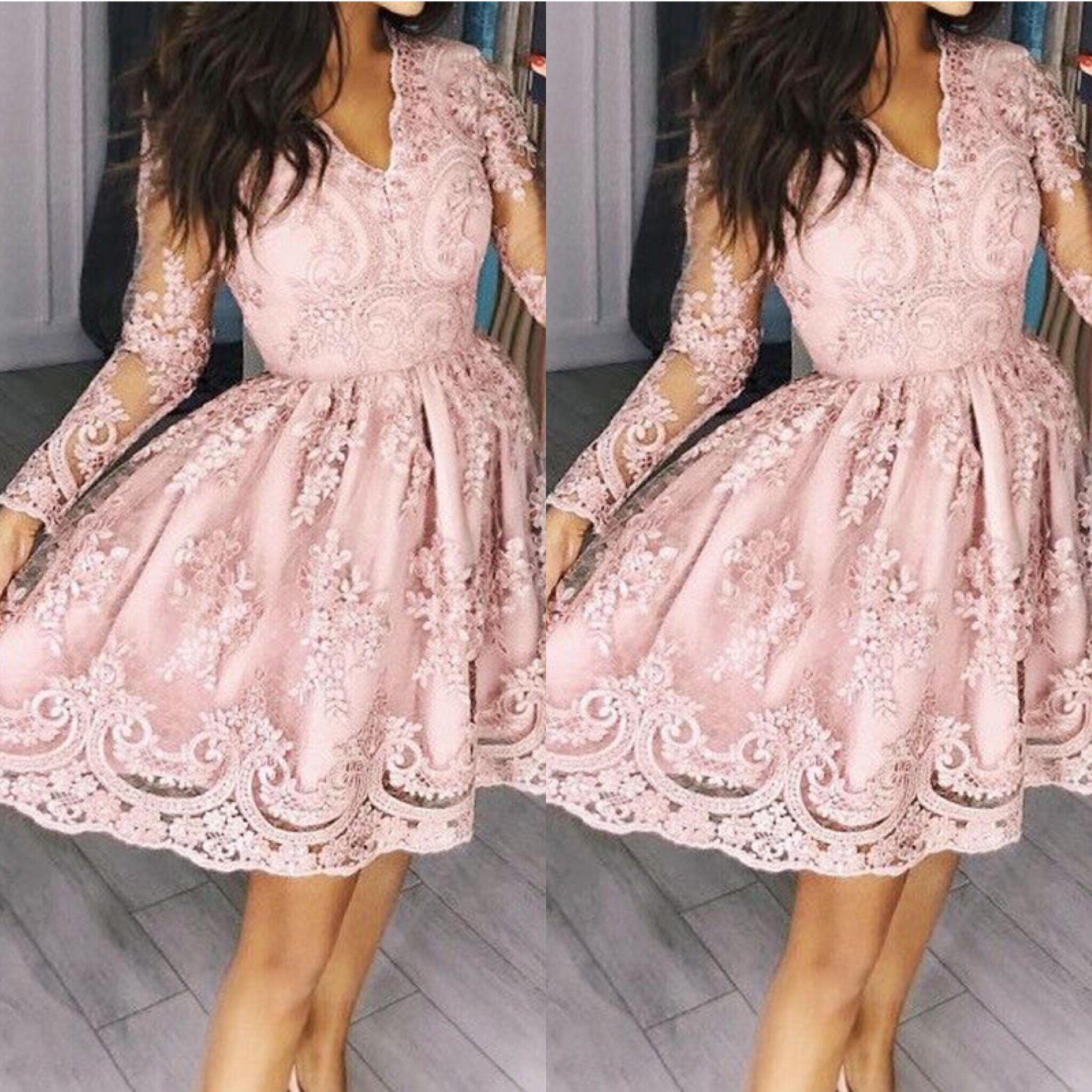 Ztvitalité robes de femmes 2018 offre spéciale Rose Broderie robe tendance Élégante robe de fête A-ligne Pleine Manches Maille robe sexy