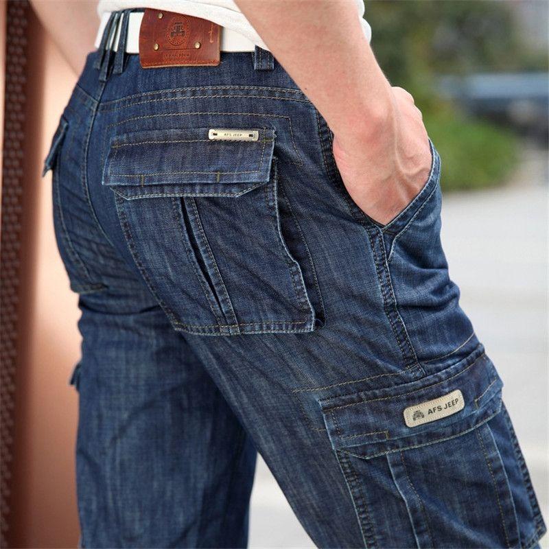 Cargo Jeans Hommes Grande Taille 29-40 42 Casual Militaire multi-poches Jeans Mâle Vêtements 2017 Nouvelle Haute qualité
