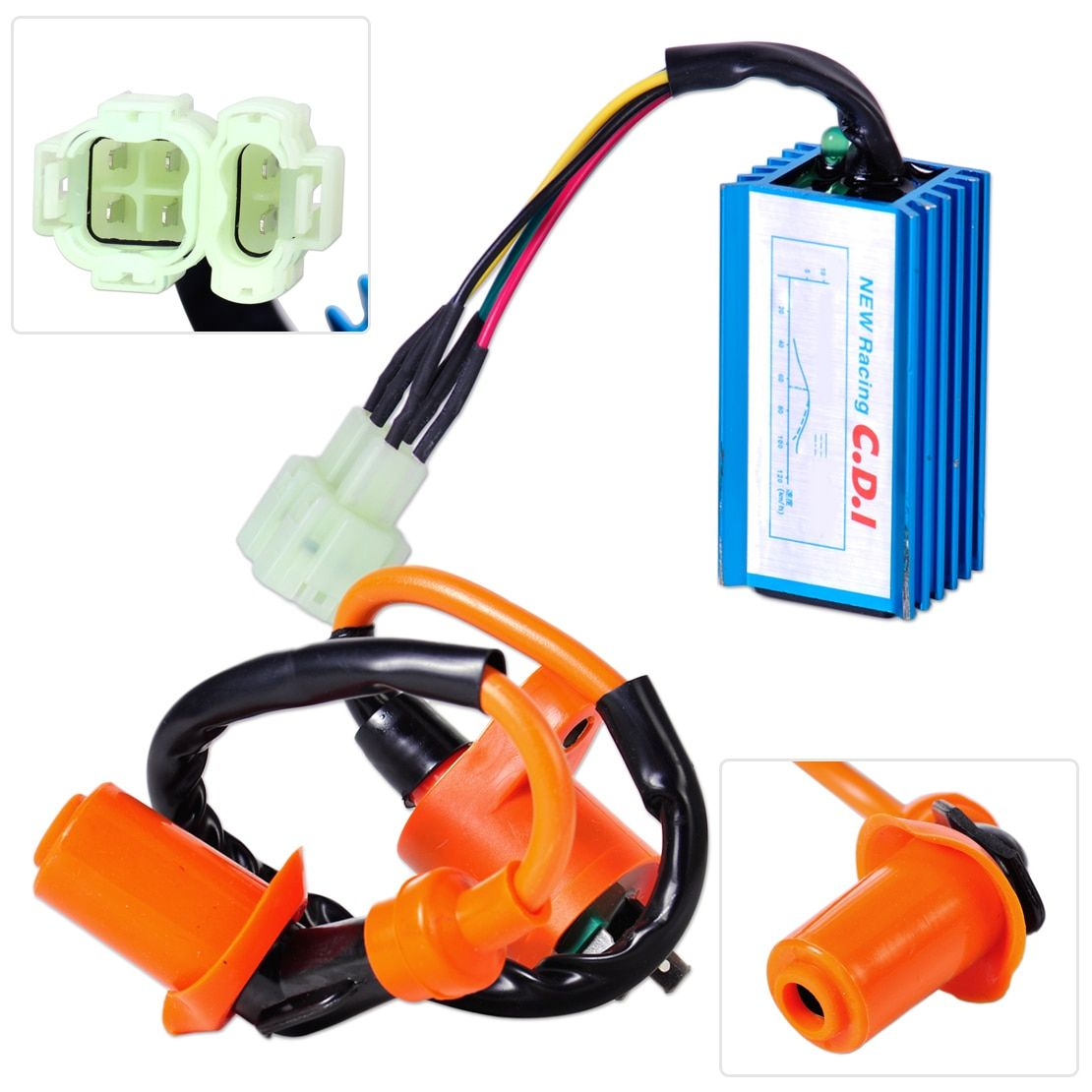 DWCX Motorcycle Racing Performance Ignition Coil + CDI Box for GY6 50cc 70cc 90cc 125cc 150cc Scooter Go Kart Moped Dirt bike