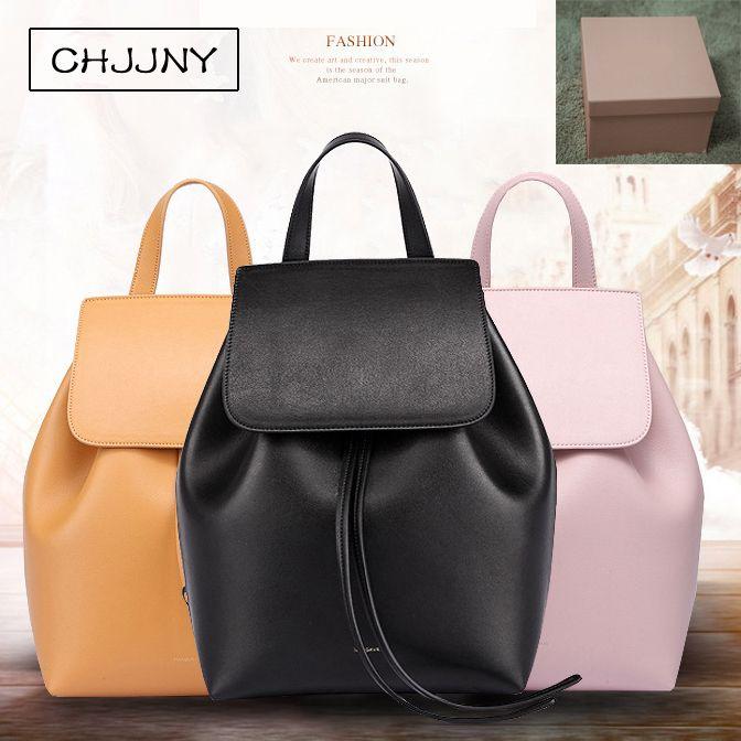 CHJJNY lady bag shoulder genuine leather crossbody luxury women school bag for teenager drawstring designer Mansur and Gavriel