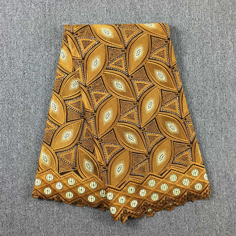 High Quality African Swiss Cotton Voile Lace, 017 Coffee Brown + Gold, 5Yds/Lot, 100% African Cotton Embroidery Fabric Wedding
