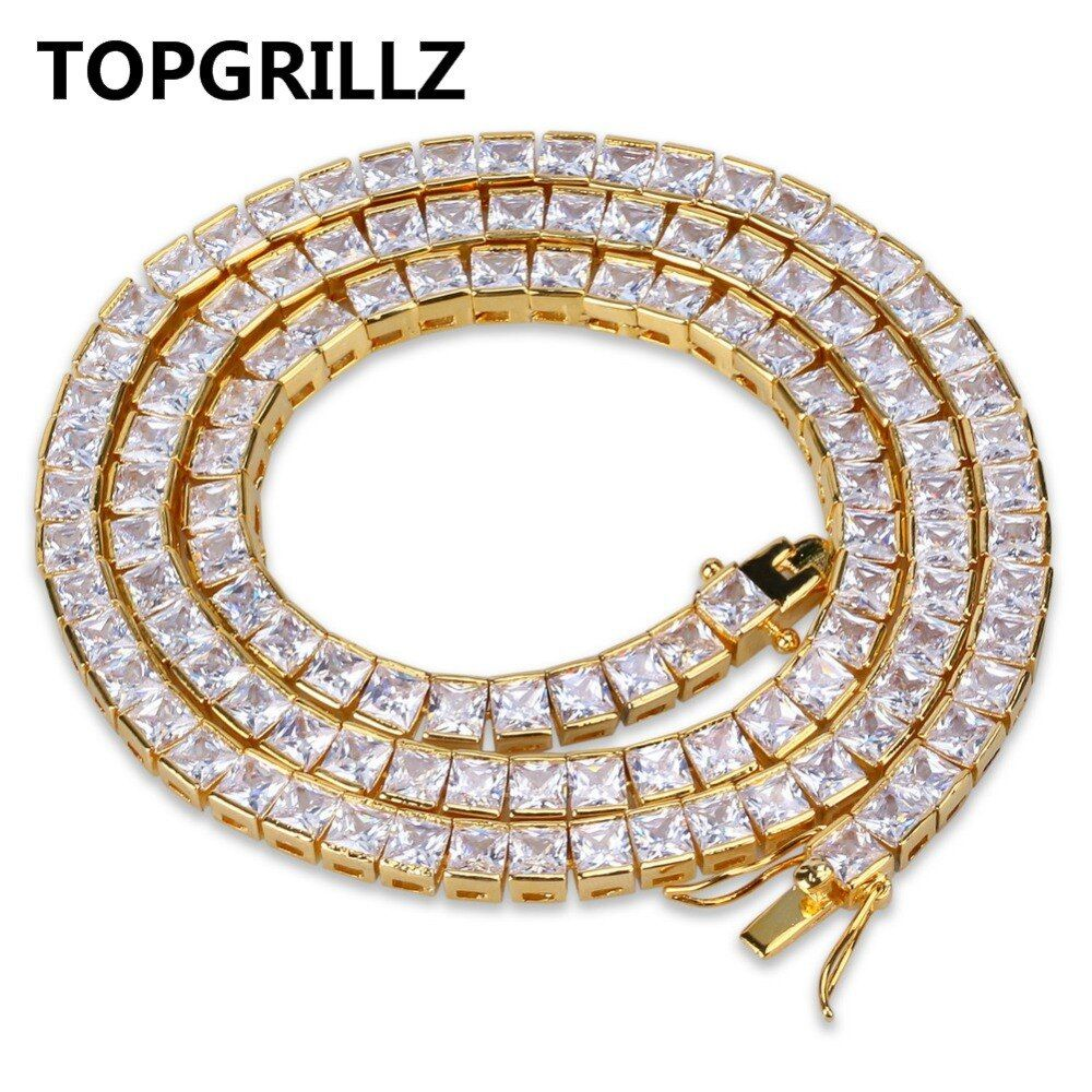 Topgrillz золото и серебро Цвет Iced Out 1 ряд 6 мм Micro Pave CZ камень Цепочки и ожерелья 20