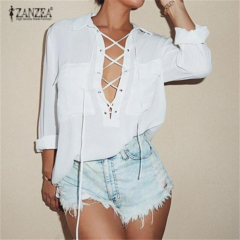 ZANZEA 2018 Women Chiffon Blouse Summer Blusa Turn Down Collar Sexy Deep V <font><b>Front</b></font> Lace Up Long Sleeve Shirt Casual Tops Plus Size