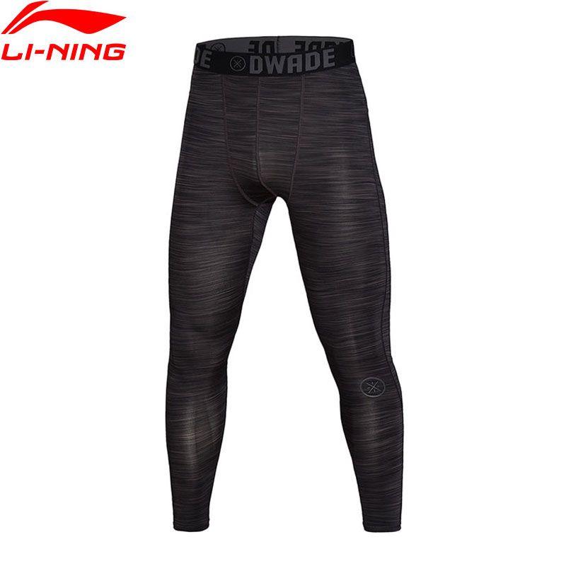 Li-Ning Men Pants Basketball Series Tights 88% Polyester 12% Spandex Tight Fit Quick Dry Li Ning Sports Legging AULM079